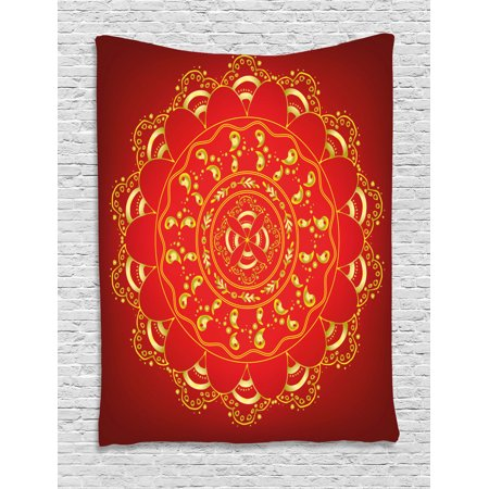 Red Mandala Tapestry, Arabic Ottoman Art Figures Mystical Ornament Ethnic Hand Drawn Oriental, Wall Hanging for Bedroom Living Room Dorm Decor, 60W X 80L Inches, Red and Yellow, by Ambesonne