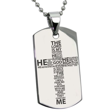 Stainless Steel The Lord is My Shepherd Psalm 23:1-4 Engraved Dog Tag Pendant