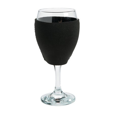 Fun Express - Black Wine Glass Neoprene Cover for Wedding - Party Supplies - Drinkware - Can & Bottle Insulators - Wedding - 1 Piece - Wine Bottle Covers Halloween