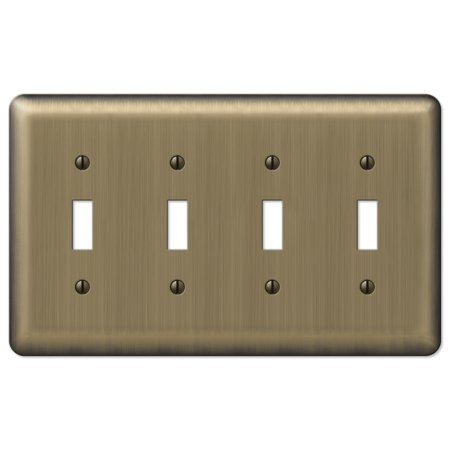 Image of Amerelle 154T4 Decorative Round Corner Steel Wallplate with 4 Toggle, Brushed Brass