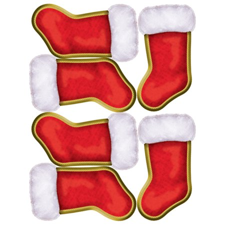 6 Count Christmas Stocking Peel 'N Place Party Wall Clings Holiday Decorations ()