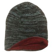 Aquarius Boys Reversible Black Speckle Beanie Hat Stocking Cap