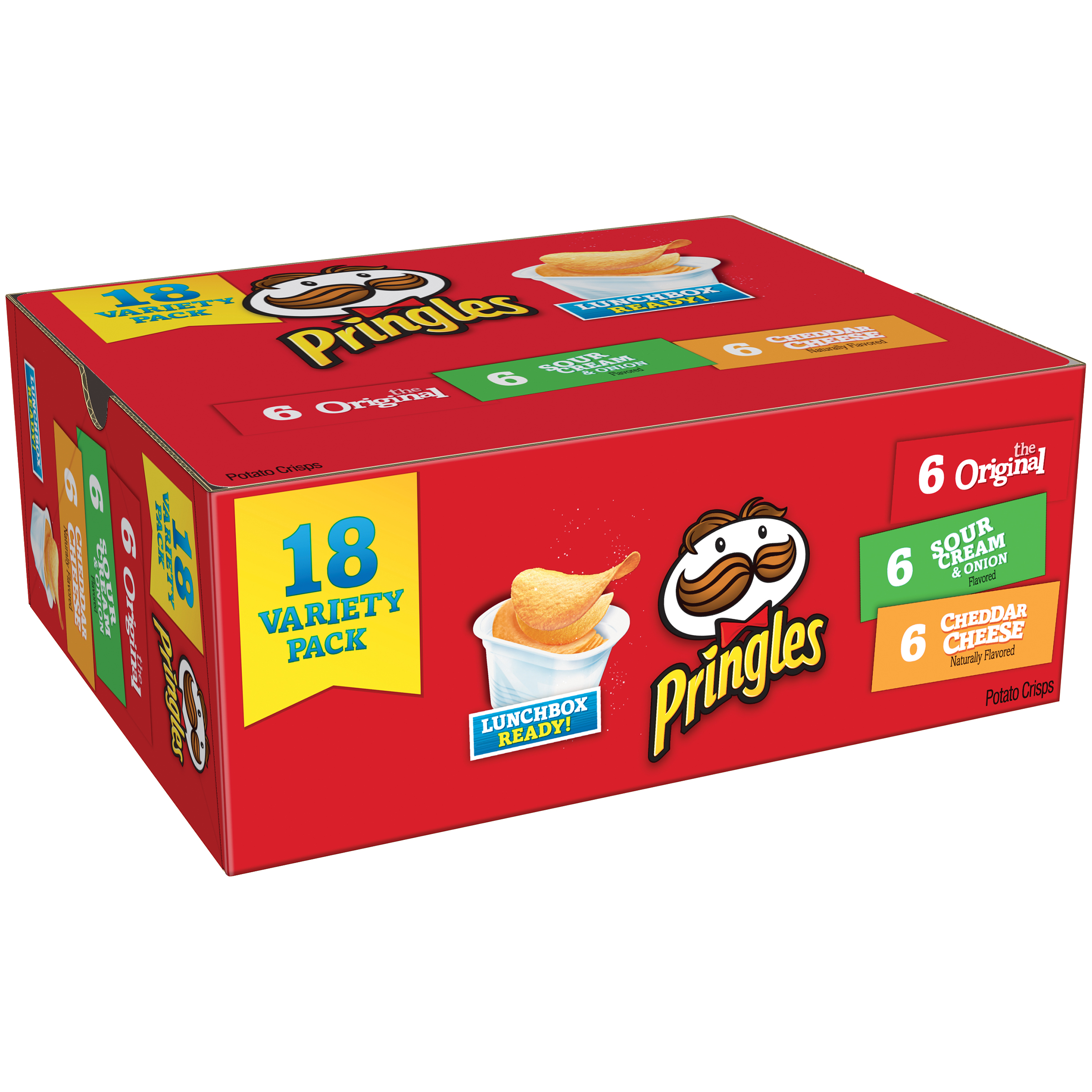 Pringles Original, Sour Cream & Onion and Cheddar Cheese Potato Crisps Chips Variety Pack 18 ct Box