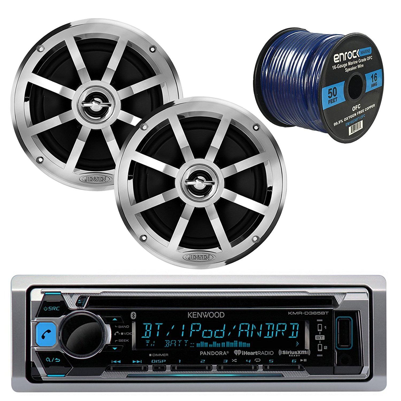 "Kenwood KMRD372BT MP3/USB/AUX Bluetooth Marine Boat Yacht Stereo Receiver CD Player Bundle Combo W/ 2x Jensen MSX60CPR 6.5"" Inch 2-Way Coaxial Speakers + Enrock 50 Foot 16g Speaker Wire"