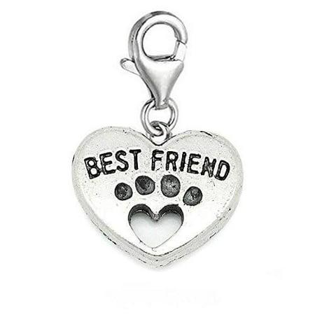 Best Friend Heart Clip On Charm Pendant for European Charm Jewelry w/ Lobster