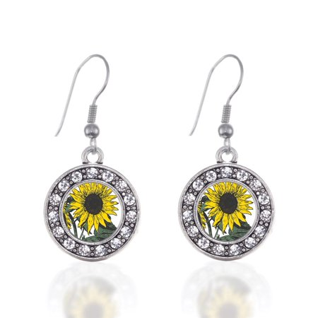 Sunflower Circle Charm (Sunflower Necklace Earrings)