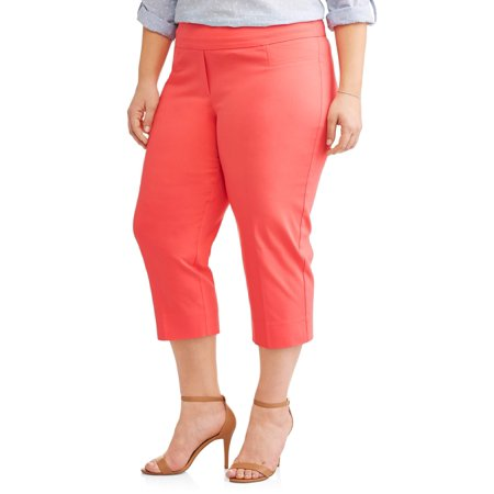 (Women's Plus Stretch Woven Career Capri with Tab Pockets)