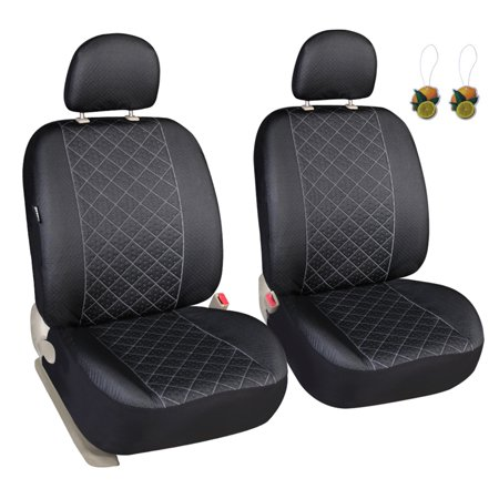 Leader Accessories Diamond Stitch Design Auto Universal Car Seat Covers 2 Fronts Low Back Seat Protector with Airbag & 2 Headrest Cover 2 Front Seat Covers