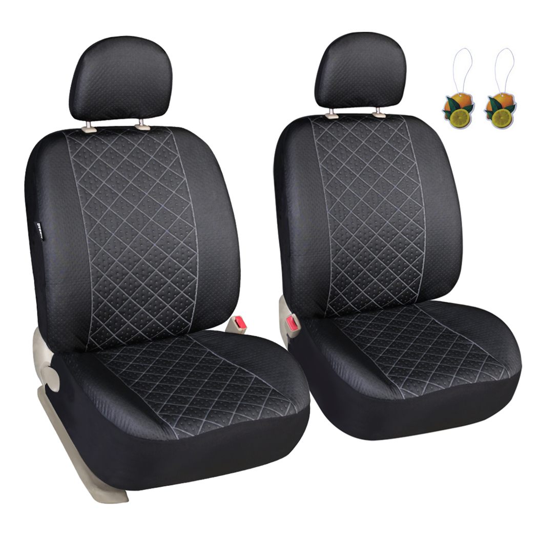 Leader Accessories Diamond Stitch Design Auto Universal Car Seat Covers 2 Fronts Low Back Seat Protector with Airbag & 2 Headrest Cover