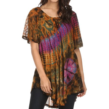 Sakkas Splenka Long Tie Dye Embroidered Corset Neck Cap Sleeve Blouse Shirt Top - Orange Multi - One Size Plus