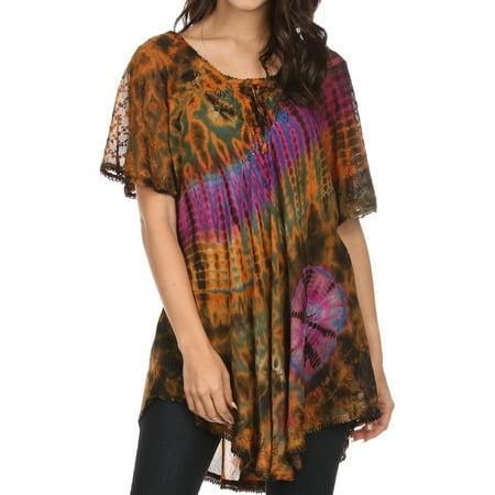 Sakkas Splenka Long Tie Dye Embroidered Corset Neck Cap Sleeve Blouse Shirt Top - Orange Multi - One Size Plus