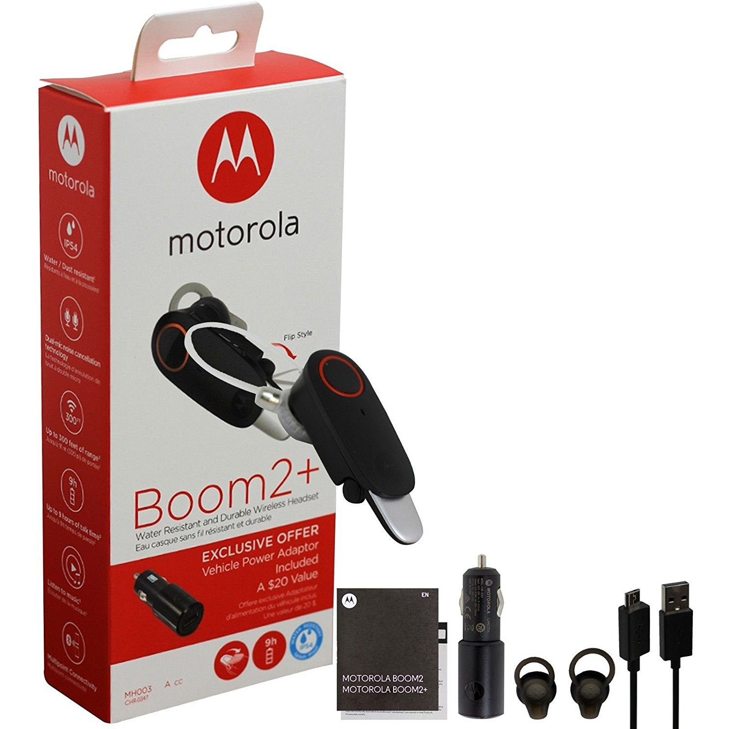 Motorola Boom 2+ Water Resistant & Durable Wireless Headset with Car Charger
