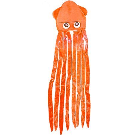 Novelty Orange Lite Up Squid With Long Tentacles Party Hat Cap Costume Accessory - Squid Hat