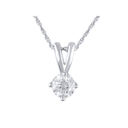 "14K White Gold 1/4 Carat Total Weight Genuine Diamond Solitaire Pendant with 18"" Rope Chain"