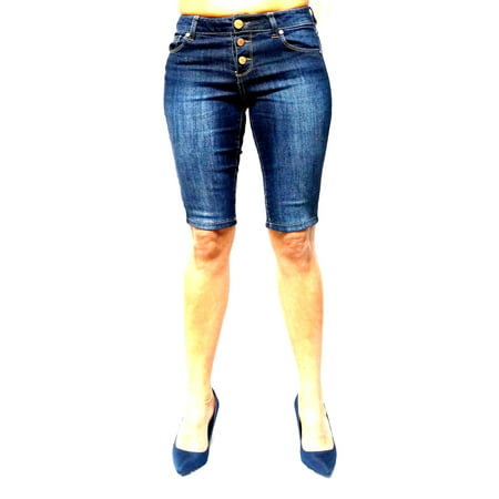 1822 Denim Juniors Women's Blue Denim Jeans Skinny Bermuda Shorts