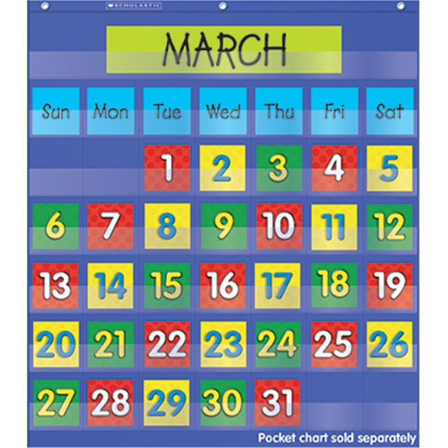 Teachers Friend TF-5402 Calendar Dates Pocket Chart Add Ons 2 Colored Sets Of Dates