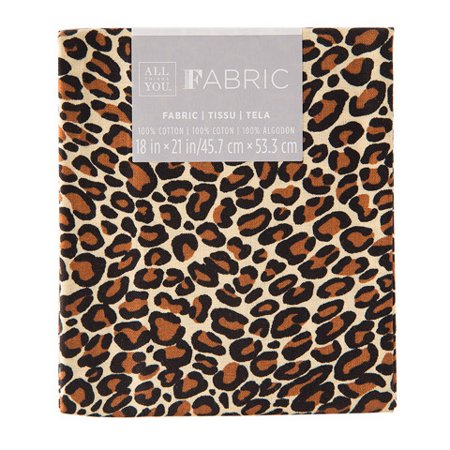 Patterned Quilting Fabric Fat Quarters: Brown Cheetah Print, 18 x 21 in