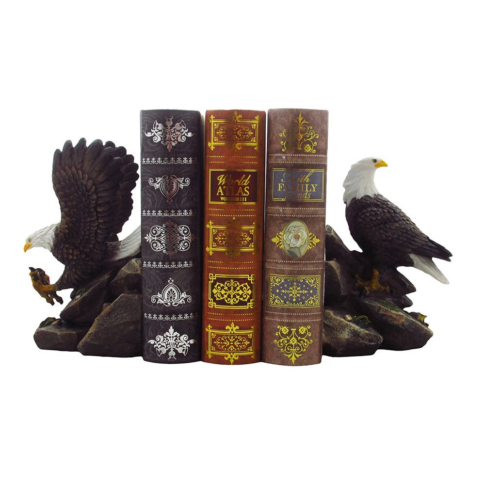 Decorative Bald Eagle Bookend Set for Patriotic Office Book Shelf Decorations & Library Decor Bird Statues by Home 'n... by DWK Corp.