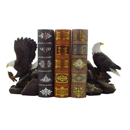 Decorative Bald Eagle Bookend Set for Patriotic Office Book Shelf Decorations & Library Decor Bird Statues by Home 'n Gifts