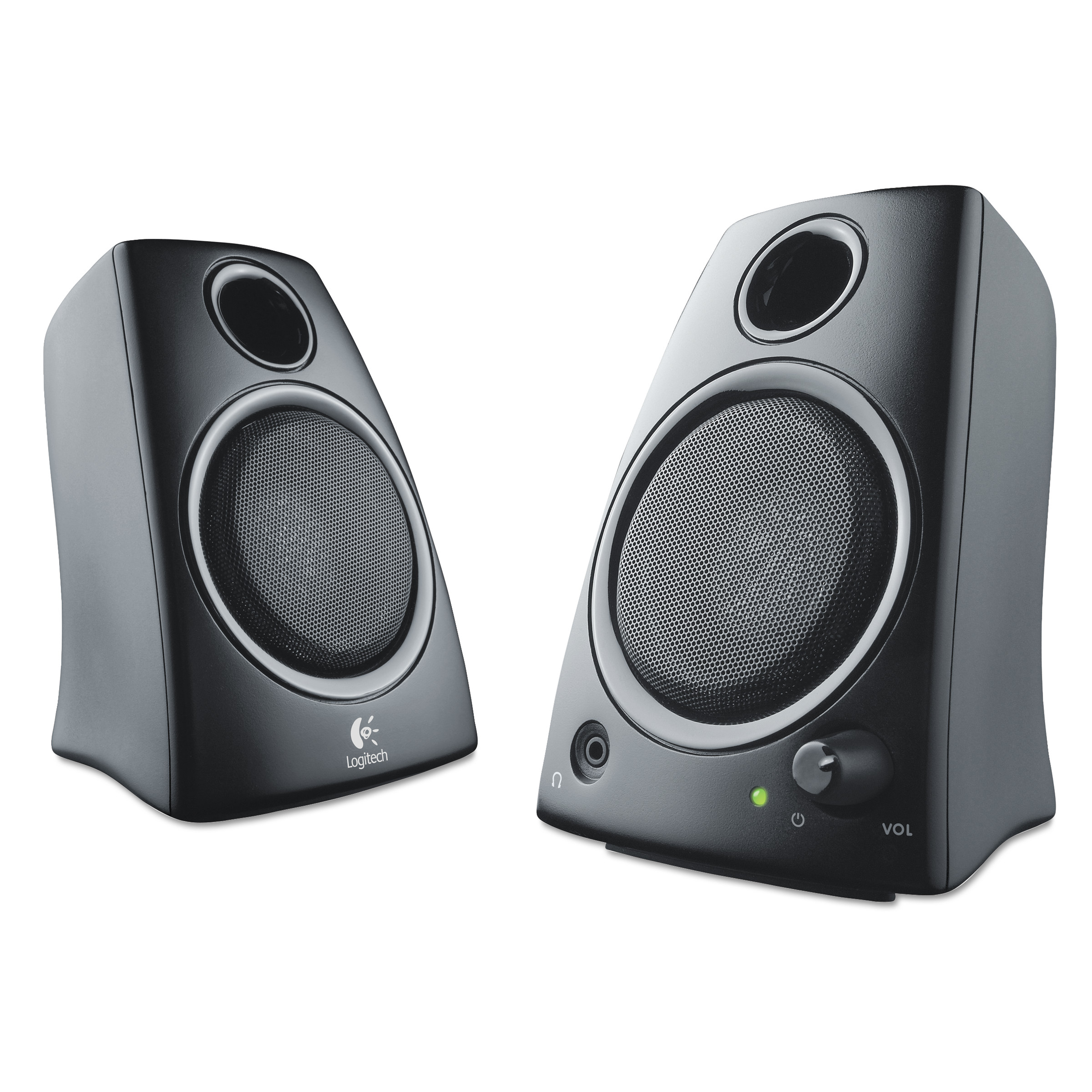 speakers at walmart. logitech z130 compact 2.0 stereo speakers, 3.5mm jack, black speakers at walmart