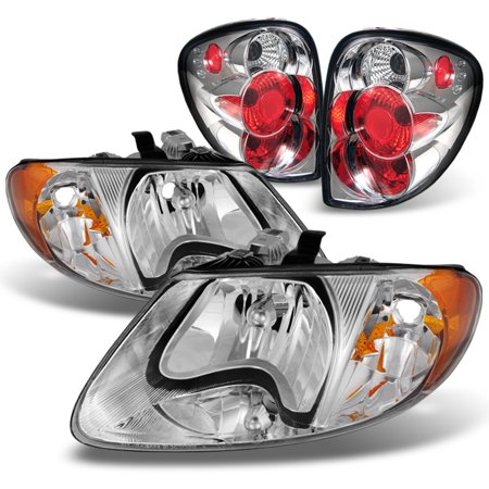 Fit 2001-2007 Dodge Caravan Chrome Amber Headlights + Rear Tail Lights Brake