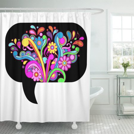 PKNMT Colorful Flower Psychedelic Callout Power 60S Retro Hippie Alternative Polyester Shower Curtain 60x72 inches