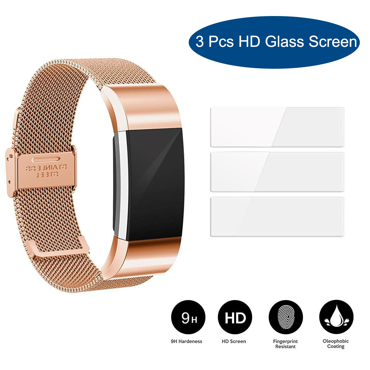 3Packs HD Clear Screen Protectors Film Cover Shield for Fitbit Charge 2