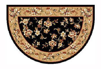 46'' x 31'' Black & Beige Floral Kashan Hearth Rug by