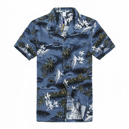Young Adult Boy Hawaiian Aloha Luau Shirt Only in Blue Map and Surfer 14 Year Old