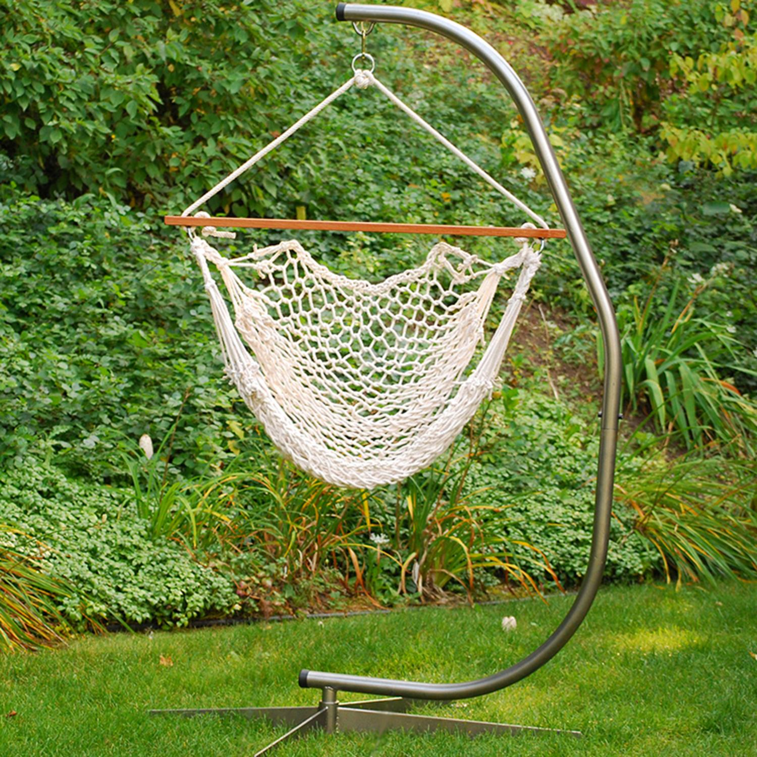 "48"" x 47"" Natural Cotton Rope Hanging Hammock Chair"