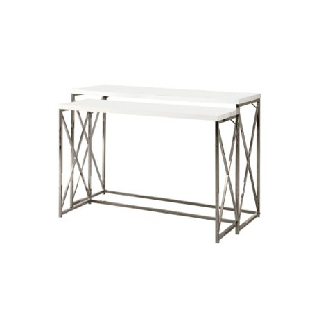 Monarch Console Table 2pcs Glossy White With Chrome Metal