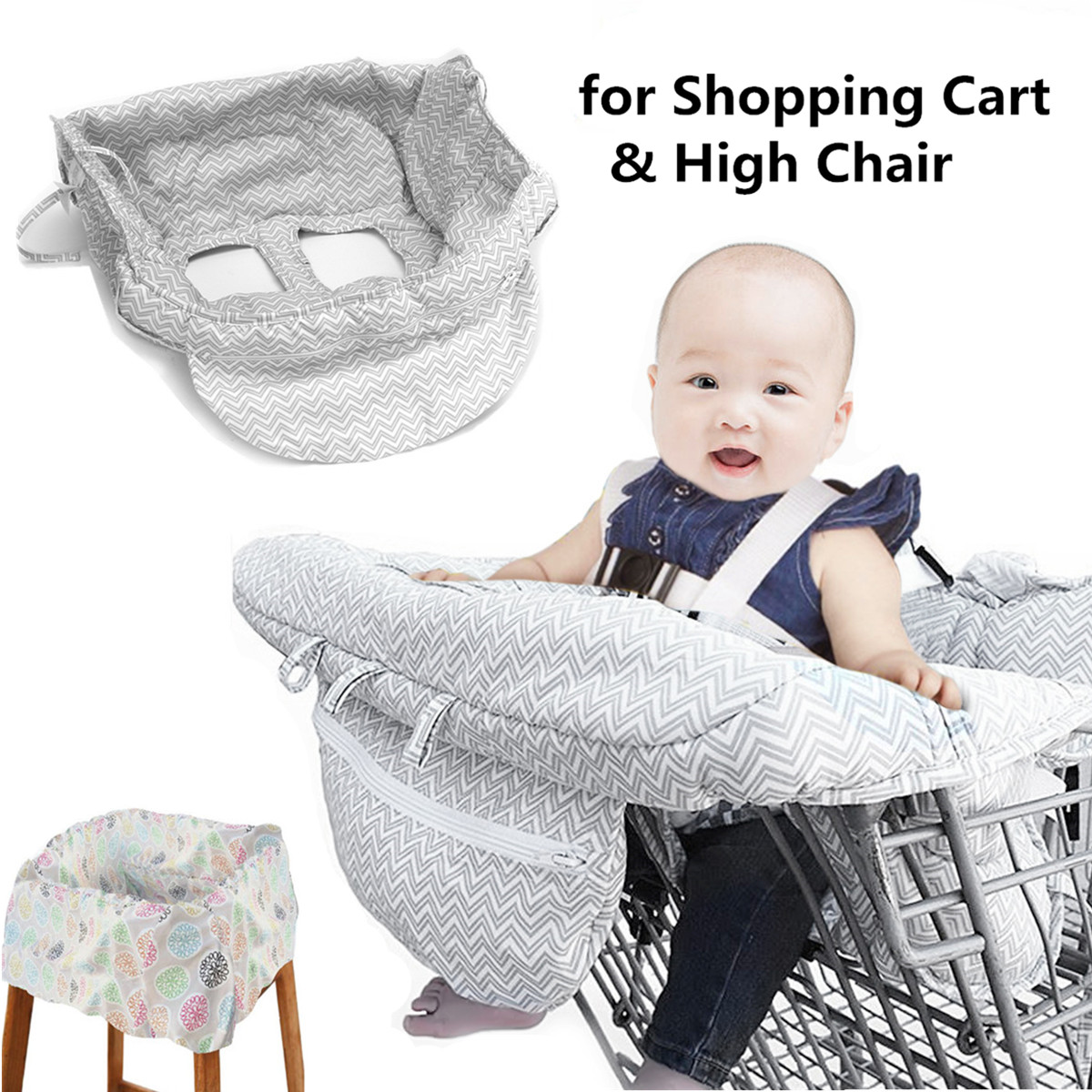 Shopping Cart Seat Cover for Baby Toddler Portable Foldable Storage Full Safety Harness Baby Trolley Highchair Cover 2-in-1 Baby Shopping Trolley Cover Highchair Seat Cushion Machine Washable