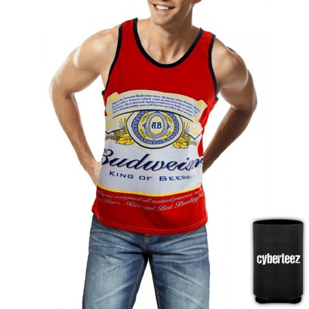Budweiser Men's King Of Beers Classic Beer Label Tank Top + Coolie (S)
