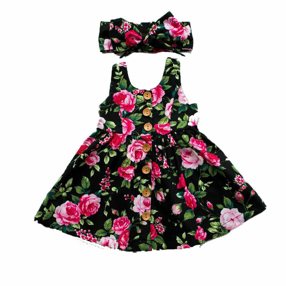 Baby Girls Bohemian Dress Floral Butterfly Print Muticolor Strappy Summer Beach Dresses for Kids Transer