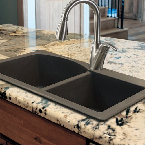 Transolid Aversa 33'' L x 22'' W Granite Double Offset Drop-in Kitchen Sink