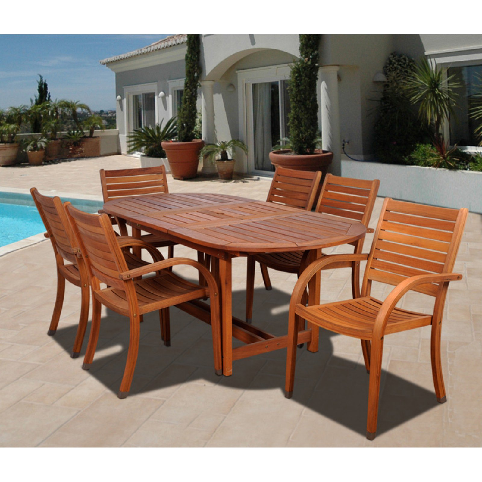 Amazonia Kentucky 7 Piece Oval Eucalyptus Patio Dining Set