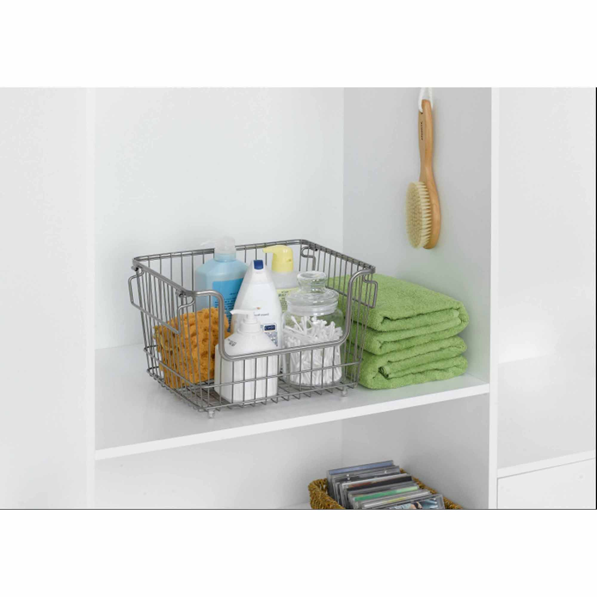 Chapter Large Stackable Wire Basket, Nickel - Walmart.com