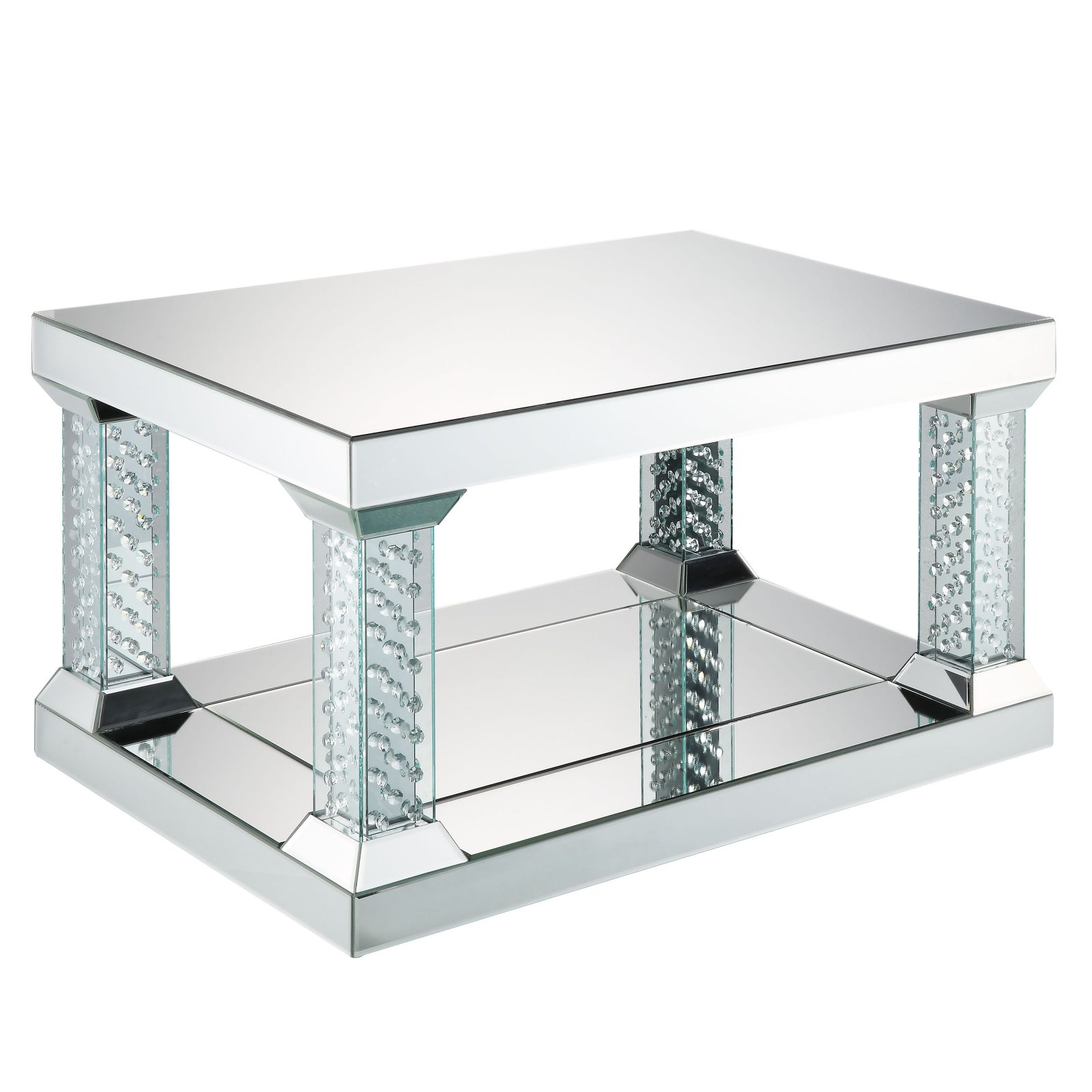 ACME Nysa Square Coffee Table in Mirrored and Faux Crystals
