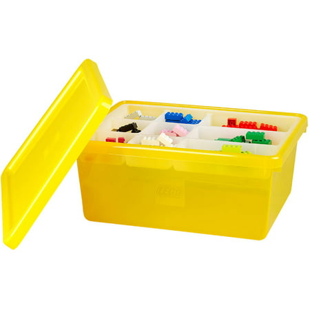 lego storage box medium with lid yellow. Black Bedroom Furniture Sets. Home Design Ideas