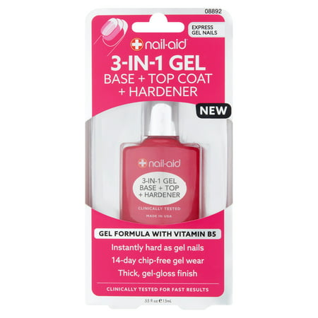 (2 Pack) Nail-Aid 3-in-1 Gel Base + Top Coat + Hardener, .55 fl
