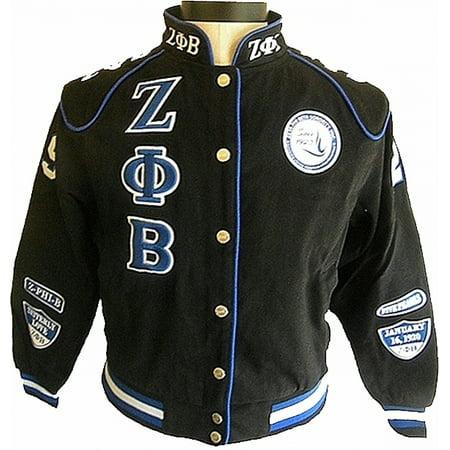 Zeta Phi Beta Dove Sorority Ladies NASCAR Twill Jacket [Black - XL]
