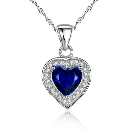 Sterling Silver Created Blue Sapphire Cut Heart Shape Pendant Necklace Jewelry Gifts for Women, 18 Chain
