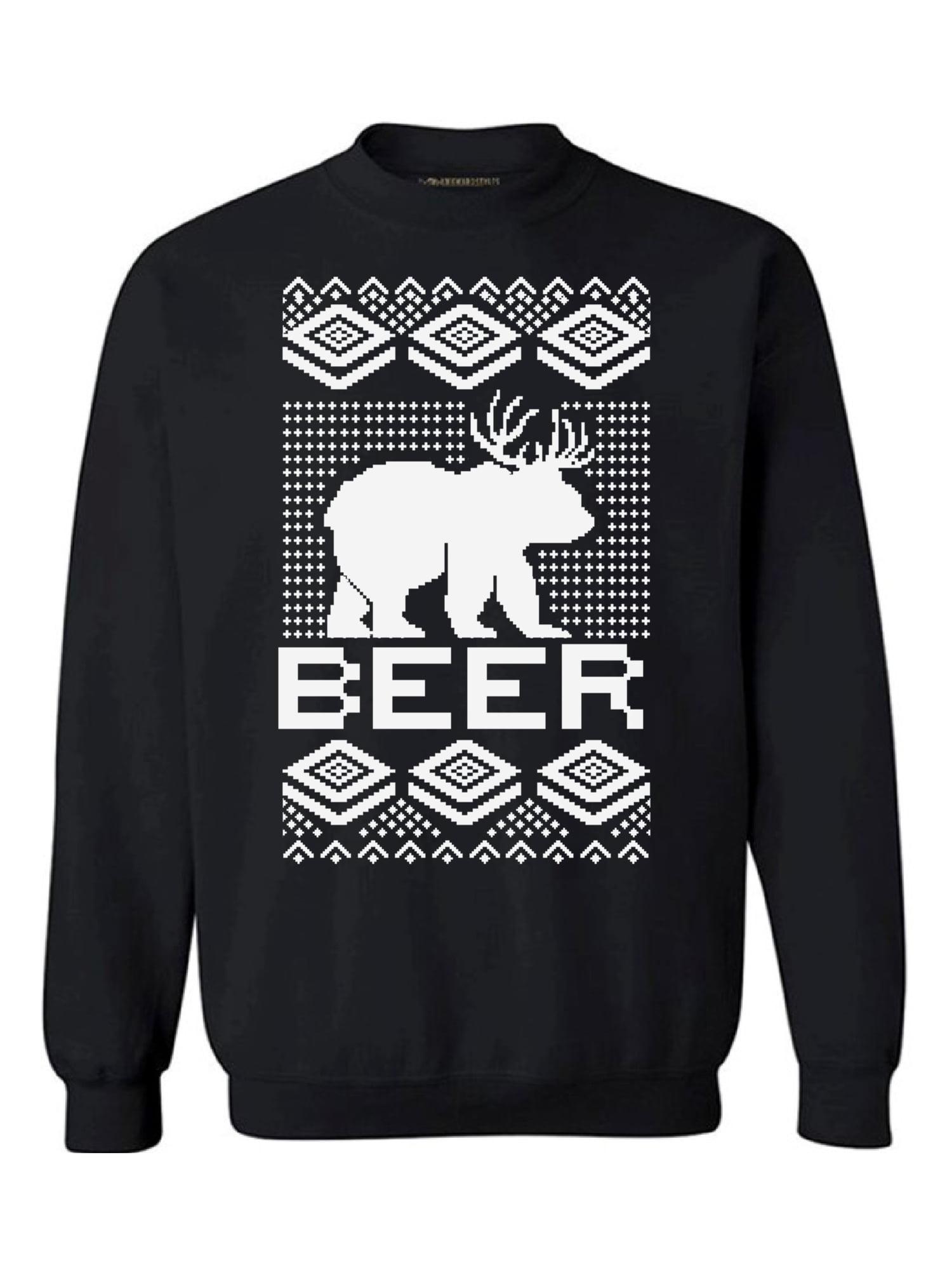 Awkward Styles Beer Bear Deer Christmas sweatshirt Xmas Holiday Sweatshirt Bear with Antlers Ugly Christmas Sweater Funny Christmas Sweater Party Xmas