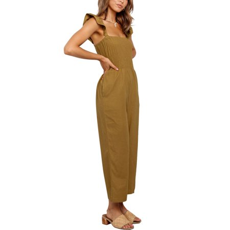 Womens Long Jumpsuit Sleeveless Strappy Romper Playsuit with Pockets Wide Leg Pants Outfits - image 1 of 7