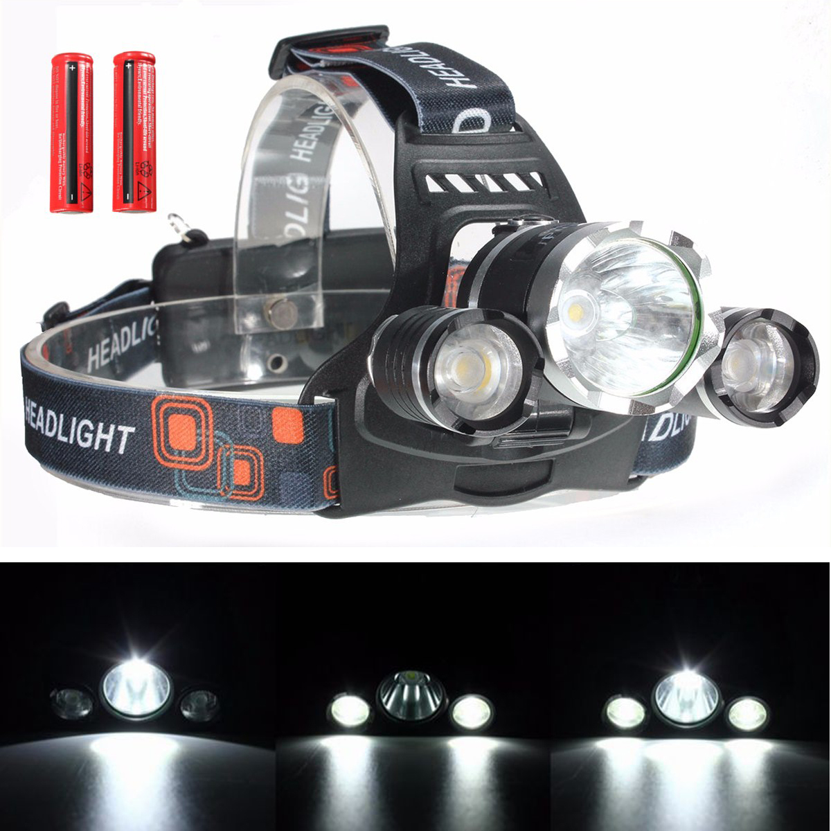 Elfeland 5000 Lumens 3x T6 LED Rechargeable Headlight Headlamp Flashlight Torch Waterproof with 2pcs 3000mAh 18650 Battery (Not Included Charger)