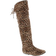 Forever Link Womens Tammy-58 FAUX SUEDE OVER THE KNEE FLAT FOLD OVER BOOTS