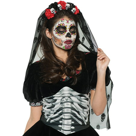 Day of the Dead Mantilla Deluxe Adult Halloween (Woman's Day Halloween Ideas)