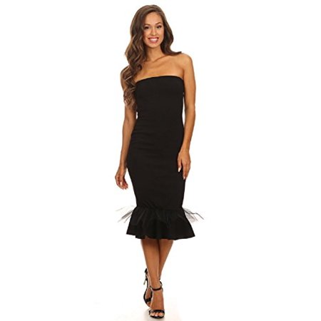 Tulle Mermaid Dress - 2Chique Boutique Women's Strapless Midi Dress with Tulle Overlay and Mermaid Hem (large)