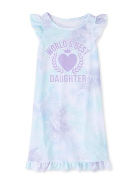 The Childrens Place Cap Sleeve 'World's Best Daughter' Tie-Dye Pajama Nightgown (Big Girls)