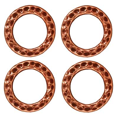 Copper Plated Pewter Round 13mm Connector Link Ring (4)